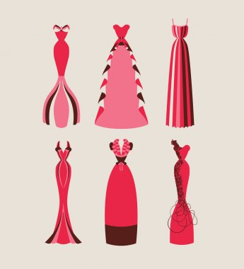 Retro and modern woman evening dresses