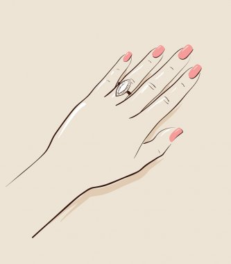Woman hand wearing a wedding ring drawing. Illustration