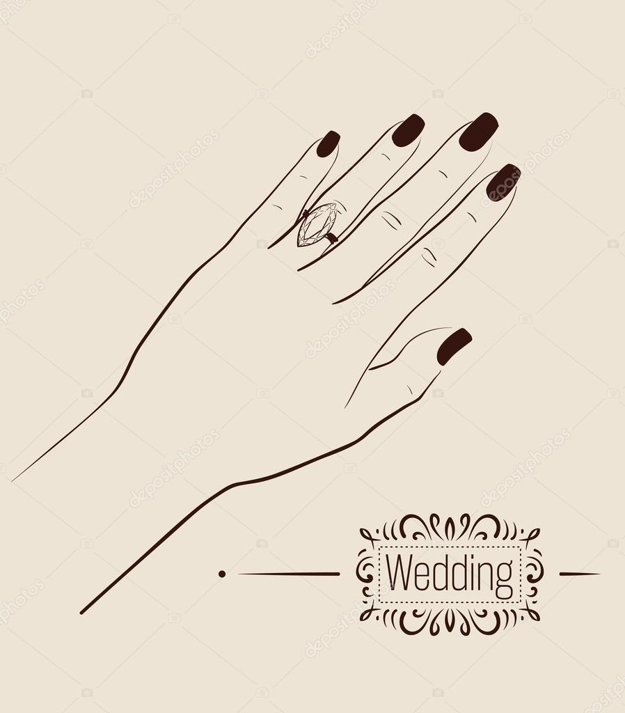 Woman hand wearing a wedding ring drawing Illustration Stock
