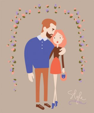 Young stylish couple in love. Man and woman fashion. Vector illustration clip art vector