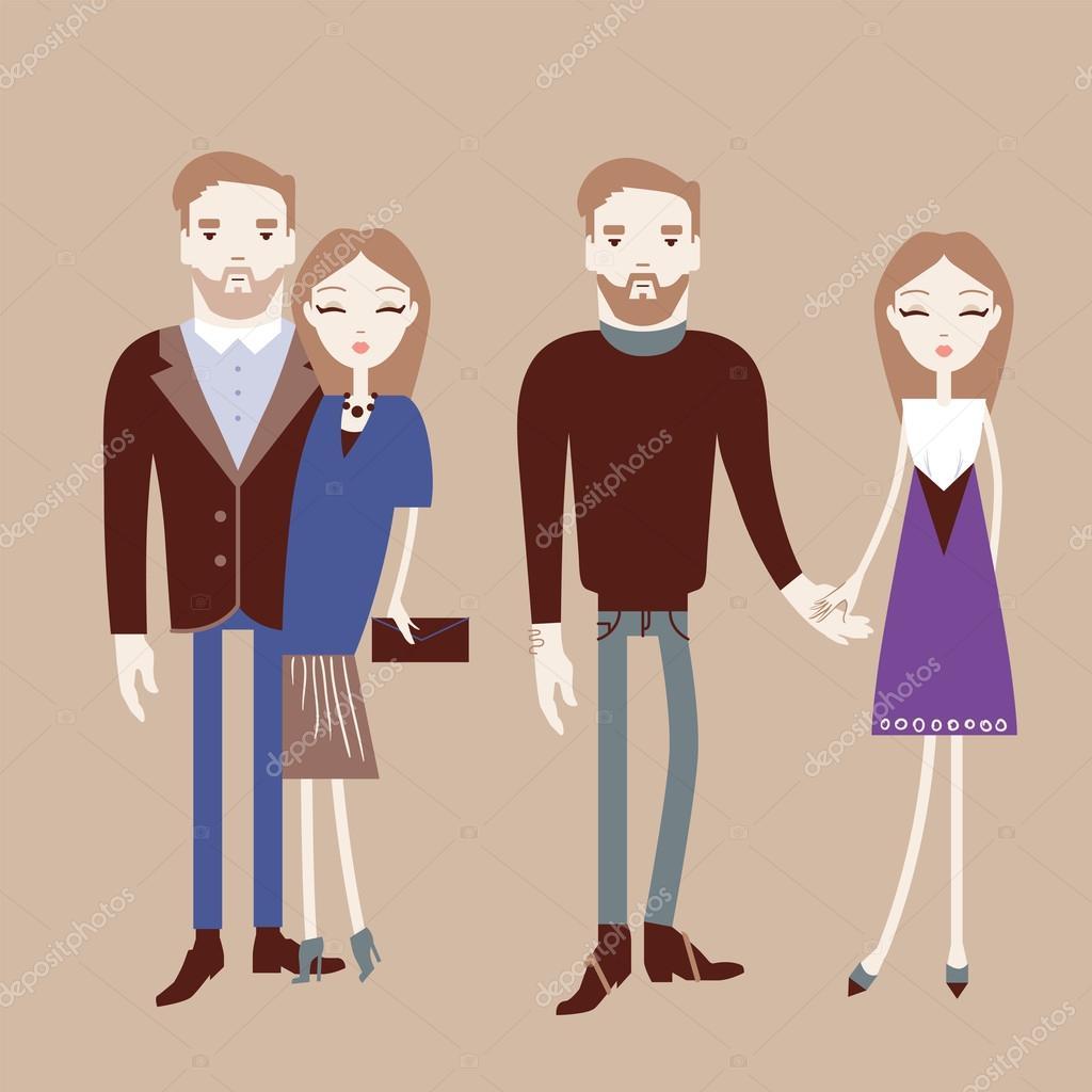 男と女が手を繋いでいます。おしゃれなカップル ベクトル illustrat