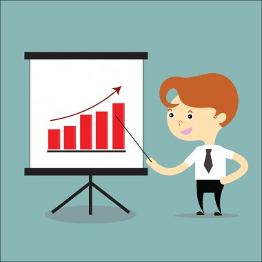 businessman present growing graph of business