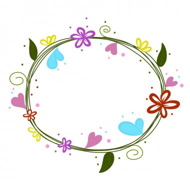 flowers round doodle with heart vector