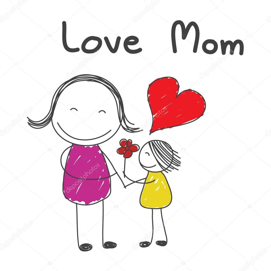 Hija Dar Flores A La Madre Con La Palabra Amor Mamá Dibujado A Mano