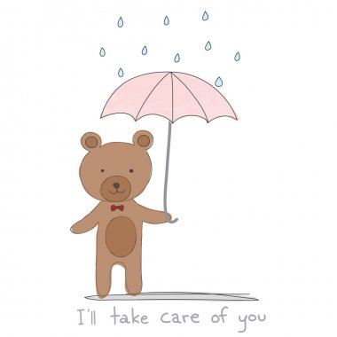 brown bear holding pink umbrella with rain hand drawn style and