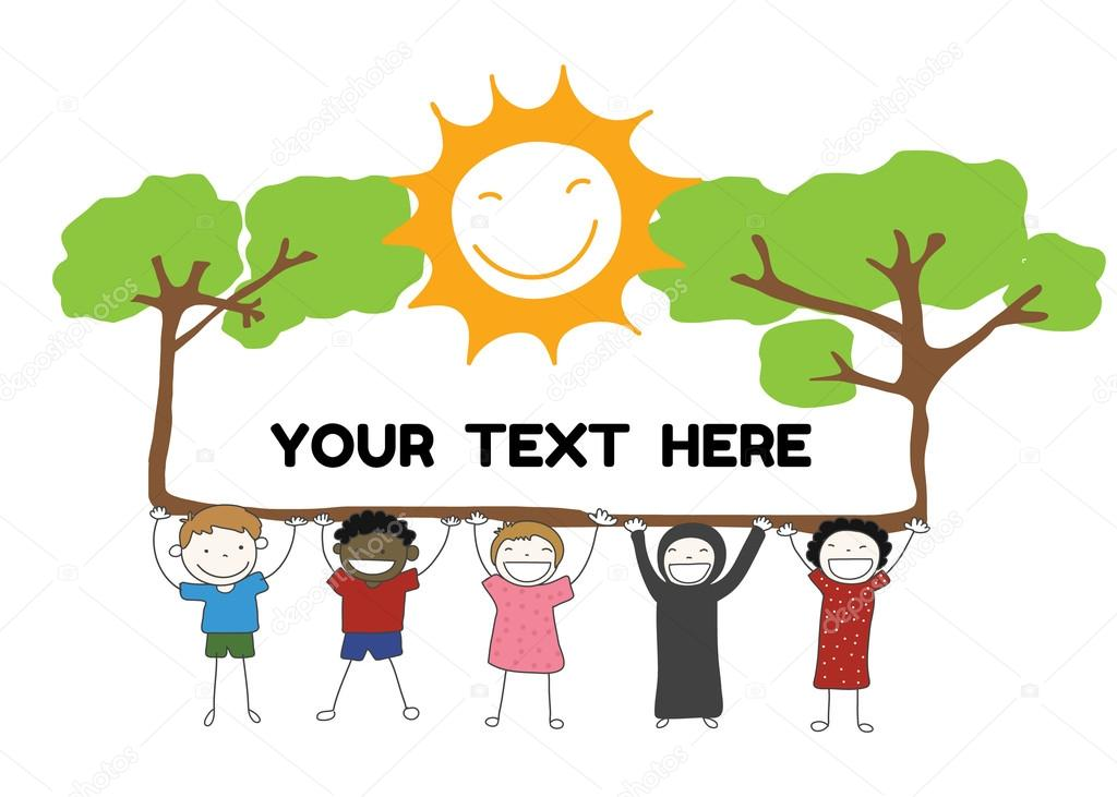 children diversity holding label with tree and sun smile for you