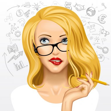 Face of a pretty blonde business woman in glasses looking up and biting her lips isolated on white background with hand drawn icons. Girl with blond hair, dreamy eyes and hand with a pencil. Vector illustration stock vector