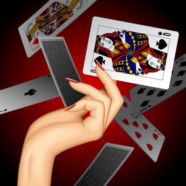 Hand with a playing card