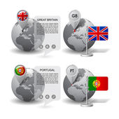 Fotografie Globes with Map marker and state flags of Great Britain and Port