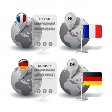 Globes with Map marker and state flags of Germany and France