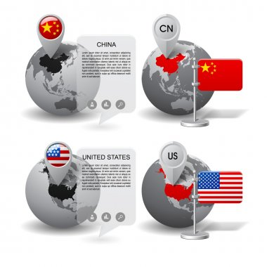 Globes with Map marker and state flags of China and United State