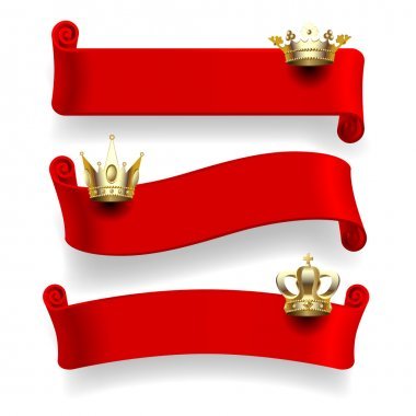 Red ribbons with gold crowns
