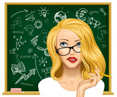 Face of a pretty blonde business woman in glasses looking up and biting her lips near the blackboard with hand drawn business icons. Education concept vector illustration stock vector
