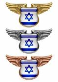 Fotografia Gold, silver and bronze award signs with wings and Israel flag