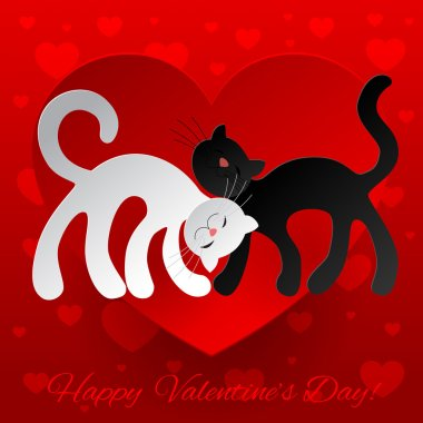 Valentine card wuth two enamored cats