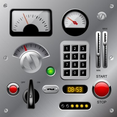 Set of meters, buttons and other machinery parts on metallic das