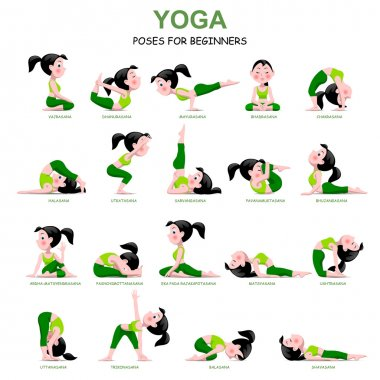 Cartoon girl in Yoga poses with titles for beginners
