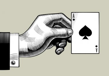 Hand with the ace of Spades playing card. Vintage engraving styl