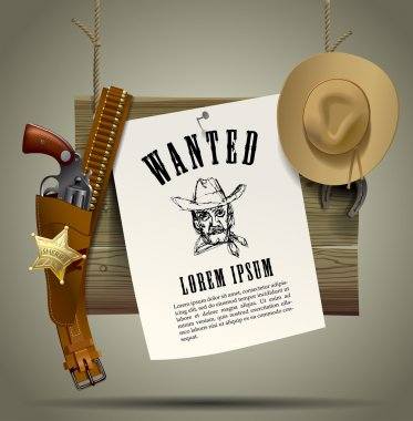 Wild West wood signboard with a sheet and cowboy accessories