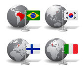 Fotografie Gray Earth globes with designation of countries with flags