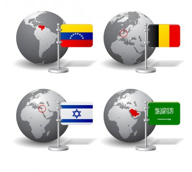 Gray Earth globes with designation of countries with flags