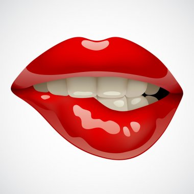Female sexy gloss red lips. Opened sensual mouth of woman with teeth biting her lips. Vector illustration stock vector