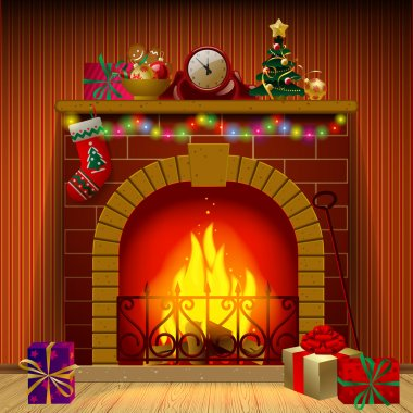Christmas fireplace in the interior