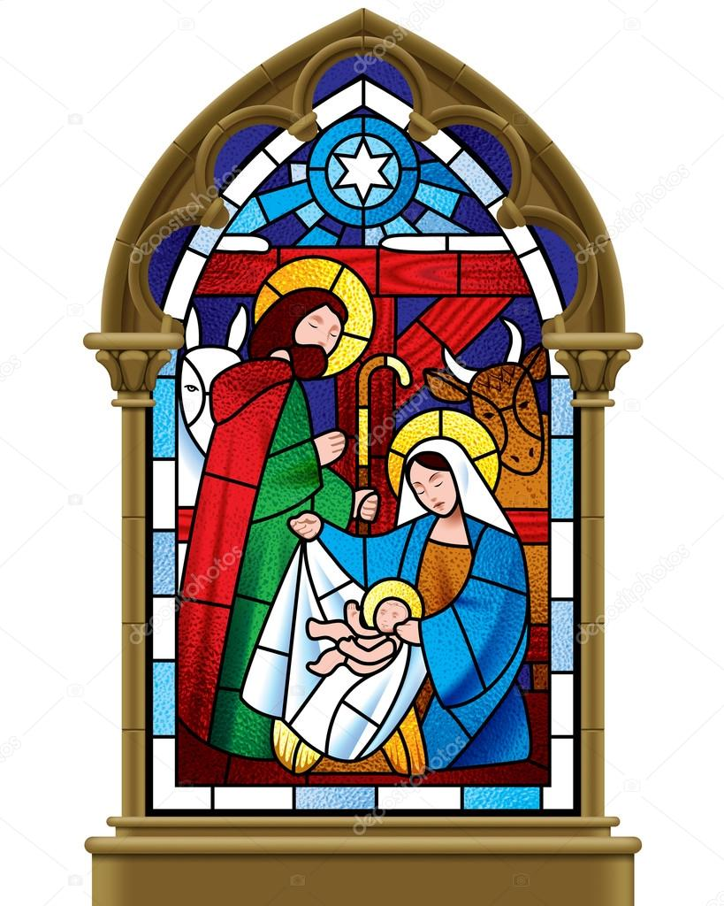 Christmas Stained Gl Window In Gothic Frame Stock Vector