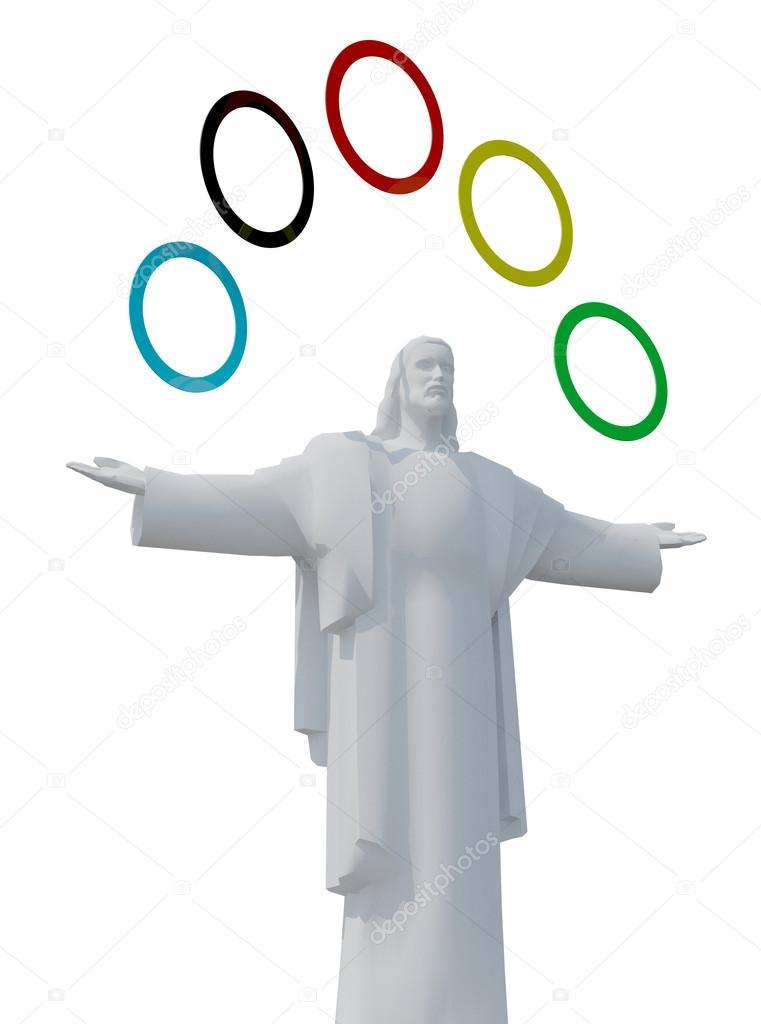 Jesus-Statue mit fünf farbigen Ringen — Redaktionelles Stockfoto ...