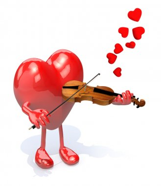 heart with arms and legs who plays the violin