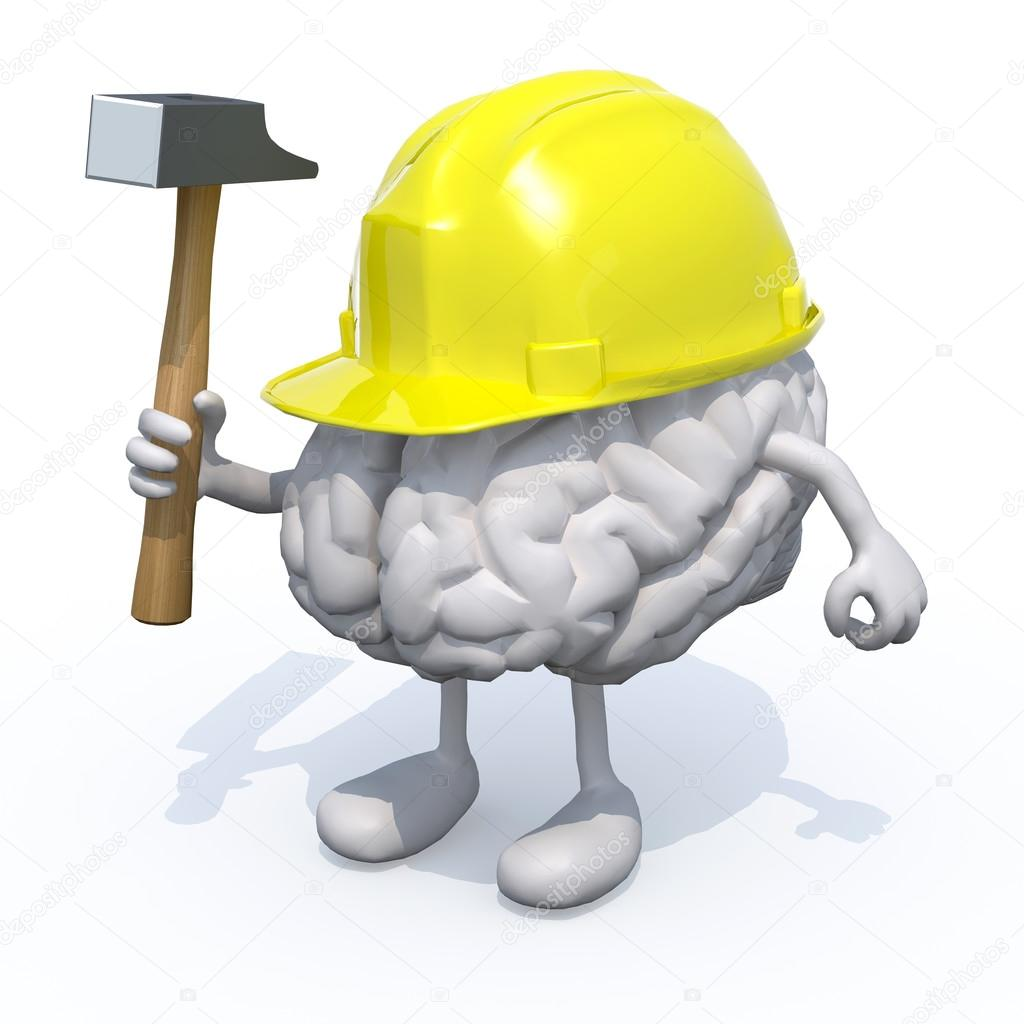 brain with arms, legs, work helmet and hammer on hand