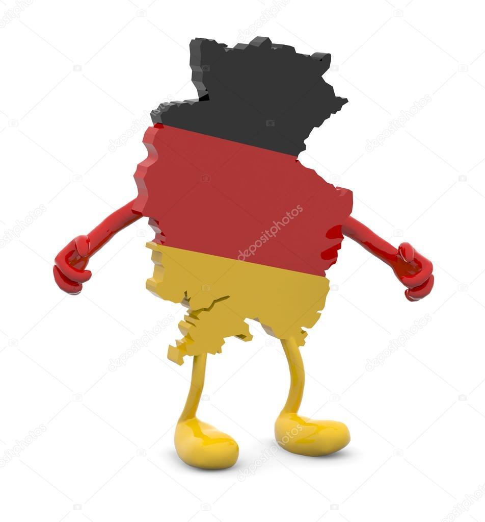 Mappa di germania con braccia e gambe dei cartoni animati u2014 foto