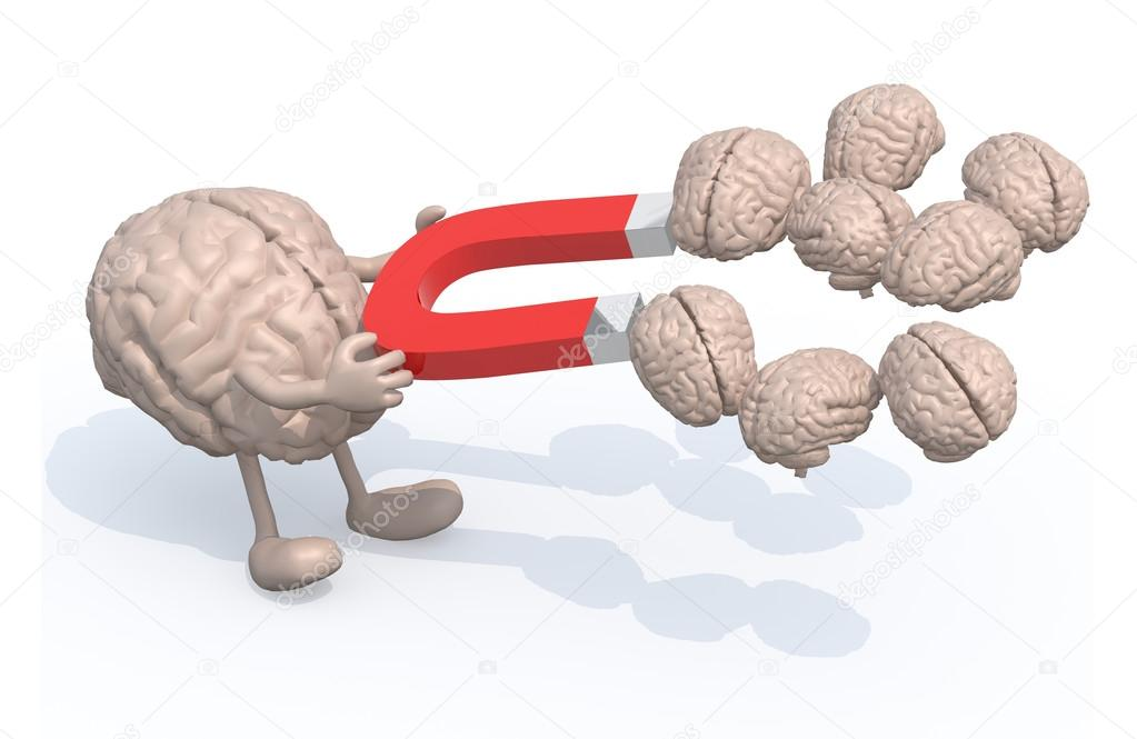 brain with arms, legs and magnet on hands, catch many other brai