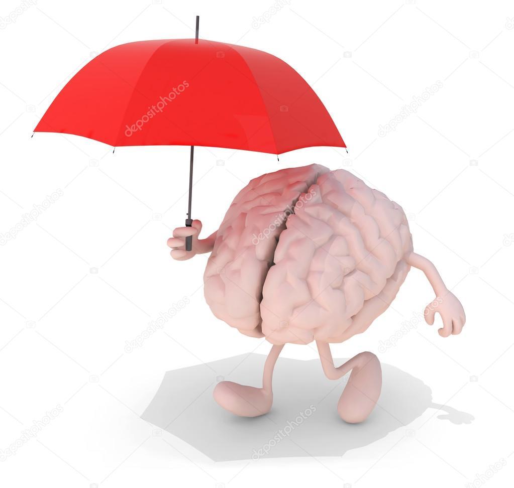 cerebro con paraguas rojo — Foto de stock © fabioberti.it #63565745