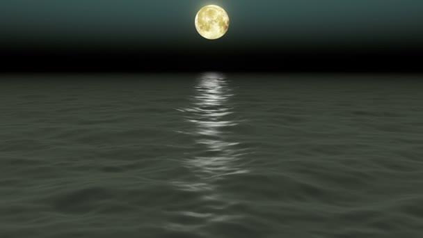 Krásné moře a měsíc. Noční obloha. Smyčkou