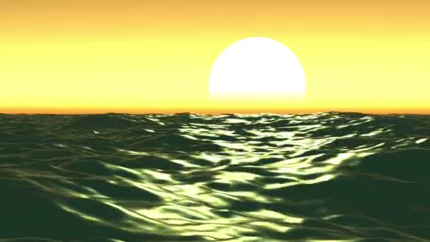 Moře a slunce západem slunce. Oranžová obloha. Smyčky animace. HD