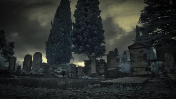 Mysterious presences in a graveyard on a stormy night, overwhelming atmosphere.