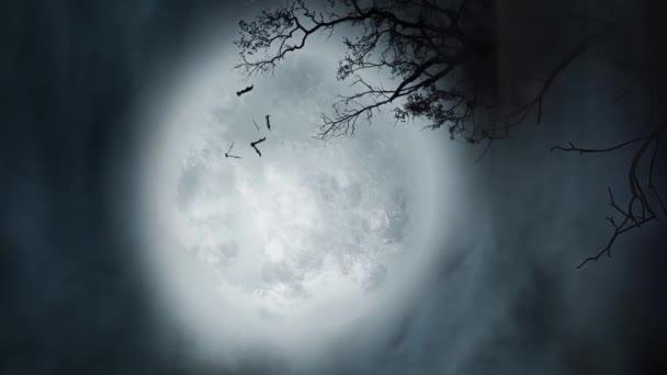 Geheimnisvolle Präsenzen Böse Fledermäuse fliegen unter einem riesigen Mond, überwältigende Atmosphäre.