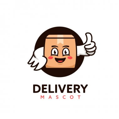 Delivery courier service package parcel box mascot logo icon illustration icon