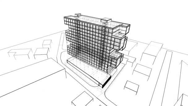 přesouvání 3D grafického minimalistického architektonického projektu
