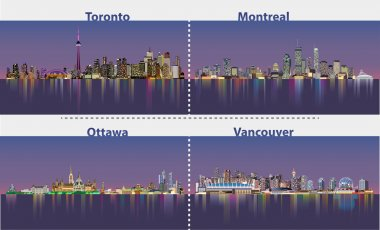 illustrations of urban canadian city skylines at night