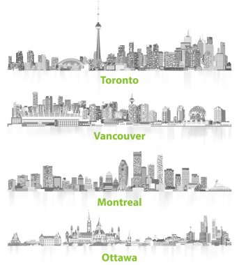 illustrations of canadian urban city skylines in grey scales on white background