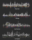 Fotografia illustrazioni astratte di urbani skyline della città di Stati Uniti dAmerica di notte su sfondo scuro morbido