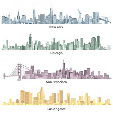 abstract colored illustrations of urban United States of America skylines
