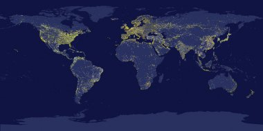 Earth's city lights map with silhouettes of continents
