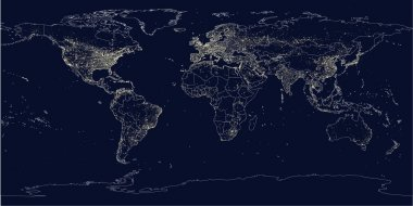 Earth's city lights political map