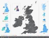 Vektorová mapa britských ostrovů s Administrativní dělení