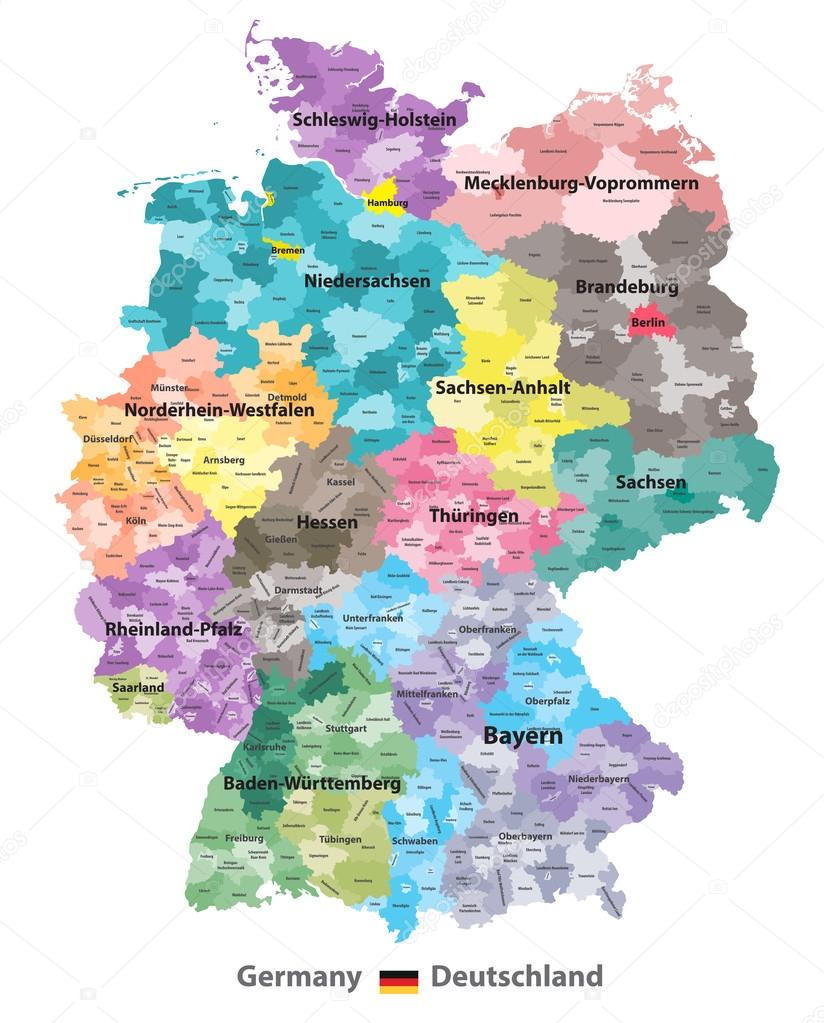 Germany map colored by states and administrative districts with
