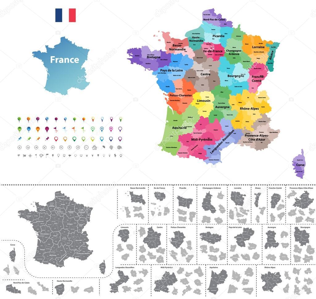 Frankreich Karte Regionen.Frankreich Karte Eingefärbt Nach Regionen Stockvektor Jktu 21