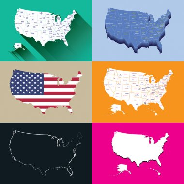 United States vector high detailed maps set
